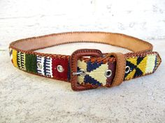 Guatemalan Woven Tapestry Belt Multicolor Tribal by retrosideshow