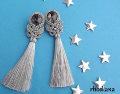 Silver Gray NEW Crystall Soutache Earrings with tassel