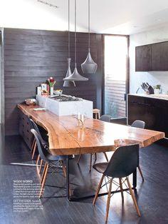 Raw wooden kitchen breakfast bar & pendants