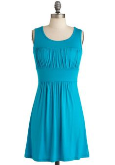 Simplicity Party Dress in Turquoise - Short, Casual, Blue, Solid, Sheath / Shift, Sleeveless, Mini, Jersey, Minimal, Variation, Summer