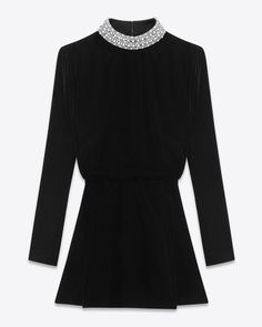 Saint Laurent Clémentine Mini Dress In Black Viscose And Silk Velvet | ysl.com