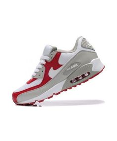 new arrival af34d 8dc48 Nike Air Max 90 White Varsity Red Grey Womens Cheap Sale