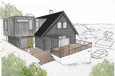 tilbygg på 2 etasjer - Google-søk House Extensions, Facade Architecture, Prefab Homes, My House, Cottage, Exterior, Cabin, House Styles, Building