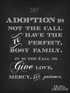 Adoption is not the call to have the perfect, rosy family. It is the call to give love, mercy and patience. #adoptionquote