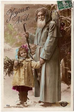 Vintage Postcards - Joyeux Noel - Love his Blue coat Vintage Holiday Postcards, Vintage Christmas Photos, French Christmas, Old Fashioned Christmas, Christmas Past, Victorian Christmas, Father Christmas, Vintage Santas, Christmas Pictures