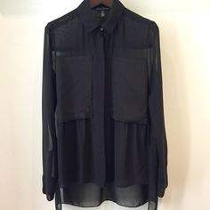 Kenneth Cole Button Down Black button down. Very sheer. Worn a few times. Shorter in the front, longer in back. Kenneth Cole Tops Button Down Shirts