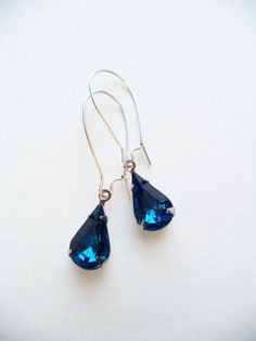 Vintage Earrings Capri Blue Glass Teardrop by SPARKLESandSASS