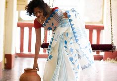 Cotton Sarees - Applique -White Blue By Suta - PC - 15744 - 2