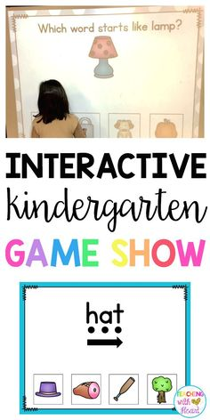 Keep your students engaged while learning with KINDERGARTEN GAME SHOW- an interactive game show for individual students, small groups, or whole groups! Kindergarten game show is perfect for a literacy center because of its game show format! Smart Board Activities, Smart Board Lessons, Kindergarten Centers, Kindergarten Classroom, Music Classroom, Kindergarten Interactive Writing, Classroom Ideas, Interactive Activities, Reading Activities