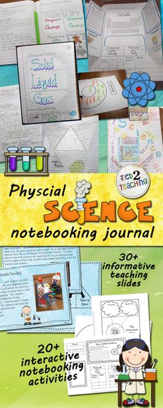 Although this is a flexible resource and can be adjusted to fit the needs of your students, each activity does include pictures, instructions, templates, and examples of one way you may choose to format and organize your notebooks. Topics Included Atoms Molecules & Compounds Matter Properties of Matter Mass, Volume, & Density States of Matter 1 Kinetic Energy & States of Matter Mixtures and Solutions Chemical & Physical Change Contraction & Expansion