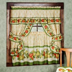 retro kitchen curtains 1950s diner style four panels red green
