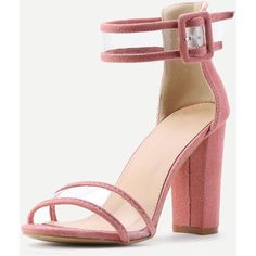 Clear Strap Block Heeled Sandals ❤ liked on Polyvore featuring shoes, sandals, strappy sandals, strap sandals, strappy block heel sandals, strap shoes and block heel sandals