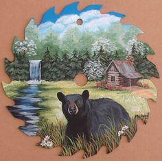 Hand Painted Saw Blade Black Bear Waterfall Cabin Decor Folk Art Americana