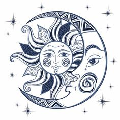 Loving forecast astrology for beginners content Sun And Moon Drawings, Sun Drawing, Moon Sun Tattoo, Sun Tattoos, Sun Moon, Celtic Tattoos, Moon Vector, Vector Art, Moon And Sun Painting