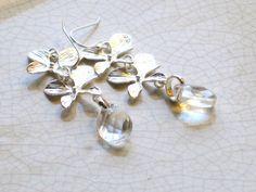 silver gingko leaf dangle earrings with pearl  or crystal by JMarieOfAtlanta, $30.00