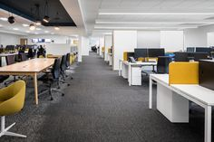 Bluesky Design was engaged by premium bed manufacturer, Harrison Spinks, to design their headquarters and showroom located in Leeds, England. Leeds England, Open Office, Office Spaces, Office Environment, 2020 Design, Open Plan, Showroom, Interior, Table