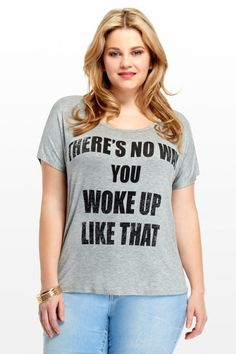 Plus Size No Way Tee | Fashion To Figure I WOKE UP LIKE THIS #PlusSizeClothing #FashionToFigure