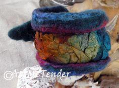 Wet nuno felted cufffelt braceletdark blue by artmetender on Etsy, $15.00