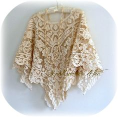 Simple Lace Shawl Poncho Elegant Vintage Lace Tea Dyed. $175.00, via Etsy.