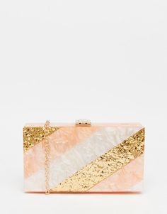 Image 1 of Vintage Styler Pearlescent and Gold Box Clutch