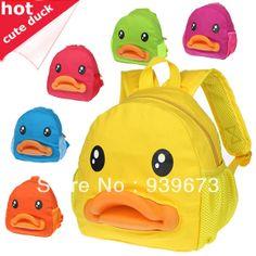 Promotions 2013 Cute Duck 3-D Rubber Mouth Kids Canvas Kindergarten bag cartoon backpack  school bags for kids travel