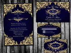Elegant Royal Blue and Gold Wedding Invitation, Save the Date, RSVP, and Thank You Digital File Kit classic filigree damask Printable Navy Blue And Gold Wedding, Royal Blue And Gold, Wedding Cards, Our Wedding, Dream Wedding, Wedding Venues, Luxury Wedding, Wedding Dress, Wedding Rings