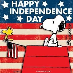 Happy Fourth of July!  Happy Independence Day with Snoopy and Woodstock.  Red White and Blue