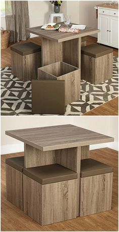 Kitchen table small apartment storage ideas Ideas for 2019 Table For Small Space, Desks For Small Spaces, Small Space Kitchen, Small Space Living Room, Small Dining, Living Spaces, Living Room Chairs, Living Room Furniture, Home Furniture