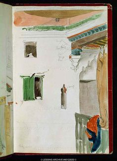 Eugene Delacroix (1798-1860)  Moroccan Sketchbook. Courtyard interior in Tangiers, watercolour April 24, 1832