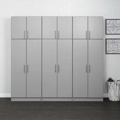 Prepac Elite Storage H x W x D Topper & Wall Cabinet Color: Light Gray Utility Storage Cabinet, Large Storage Cabinets, Storage Shed Organization, Shop Storage, Closet Storage, Garage Storage, Storage Spaces, Storage Ideas, Diy Garage
