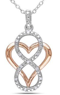 """Micro pave sterling silver infinity symbol is over-layed on a rose gold heart.   Tell her you will love her forever with this stunning pendant.  Dangle Heart approx. 1"""".  Chain included - please specify length (16"""" - 18"""" - 20"""")"""