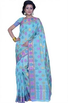 Cambridge Blue and Celadon Green Chanderi Cotton Handloom Party and Festival Saree Sku Code:367-4175SA515684 $ 40.00