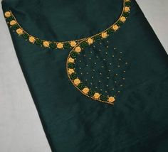 Chudi Neck Designs, Best Blouse Designs, Neckline Designs, Dress Neck Designs, Hand Embroidery Design Patterns, Kurti Embroidery Design, Embroidery Flowers Pattern, Embroidery Online, Hand Embroidery Dress