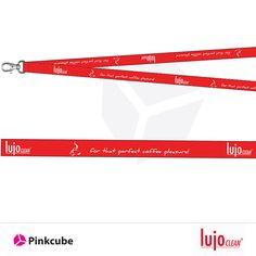Pinkcube #bedruckte #Schlüsselbänder für lujoCLEAN  Für die Spezialisten für spezielle Reinigungsprodukte im Bereich Industrie, Gastronomie und Verbraucher bedruckten wir individuell angefertigte rote Schlüsselbänder und Lanyards mit dem Logo und dem Claim des Unternehmens.