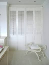Plantation shutters as wardrobe doors and room dividers. Shutters as wardrobe doors? Yes, what makes shutters great for windows makes them perfect for doors Bedroom Built In Wardrobe, Wardrobe Doors, Closet Doors, Louvre Doors, Louvre Windows, White Wooden Doors, Bedroom Colour Palette, Fitted Wardrobes, Shutter Doors