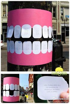 Quand un dentiste fait sa pub dans la rue... Marketing rétro: les affiches sur les poteaux