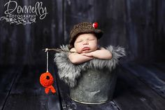baby boy hat-Fisherman set-newborn photography-baby photo prop-crochet hat and fish. $38.00, via Etsy.