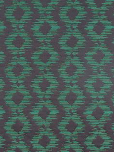 Emerald Green Upholstery Fabric - Green Gray Ikat by the Yard
