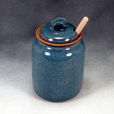 Blue Honey Pot Stoneware Handthrown Pottery 1