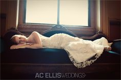 Bride on vintage couch
