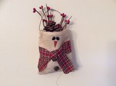 "Snow Man Bag Size: 5""x6"" Hand Packaged with Berry's and a Pine Cone."