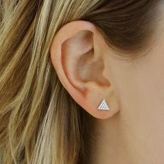 Dana Rebecca Designs Emily Sarah Triangle Stud Earrings With Diamonds 14k White Gold