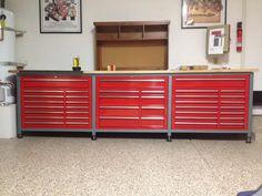 """""""Steevo"""" style workbench from the Garage Journal. Diy Garage Storage, Garage Organization, Built In Storage, Tool Storage, Garage Plans, Garage Ideas, Garage Workbench, Woodworking Plans, Woodworking Projects"""