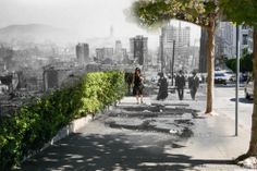 Composite Then and Now Photos of the 1906 San Francisco Earthquake: People walk up California St amid charred scraps of lumber	 (Shawn Clover)