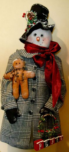 Dressed snowman in winter coat with gingerbread by TheChristmasDen on Etsy
