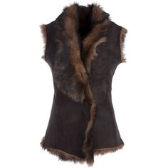 GLADYS & PIXIE 0106790100 BROWN SHEEPSKIN 0106790100 ($360) ❤ liked on Polyvore featuring outerwear, vests, jackets, tops, coats & jackets, women, brown vest, brown waistcoat, sheepskin vest and reversible vest