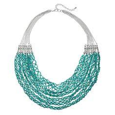 Aqua Seed Bead Twisted Multi Strand Necklace, Turquoise/Blue (Turq/Aqua)