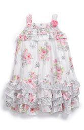 Shabby chic look toddler girls' ruffled sundress - I love a floral dress