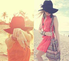 Forever 21 Hat, H&M Accessories, Forever 21 Bracelet, Forever 21 Earrings, Sol & Água Dress, Love.D Bag