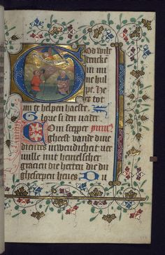 "The annunciation to the shepherds. ""This illuminated Book of Hours was produced in the second quarter of the fifteenth century. It is written in the Netherlandish translation of Geert Grote. Although lacking in full-page miniatures, the manuscript contains eighteen historiated initials by the Masters of Zweder van Culemborg with ornamental initials and decoration throughout."" Image source: Walters Museum MS W. 188. Creative Commons licensed via Flickr."